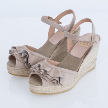 Vienna Suede Frill High Wedge With Ankle Strap In Taupe