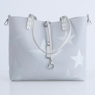 c9d08d2e092a Kris Ana Star Reversible Tote With Cross Body/Clutch Grey/silver