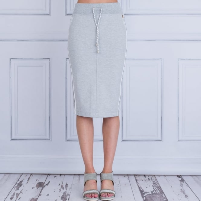 L ARGENTINA Jersey Skirt With Stripe In Grey