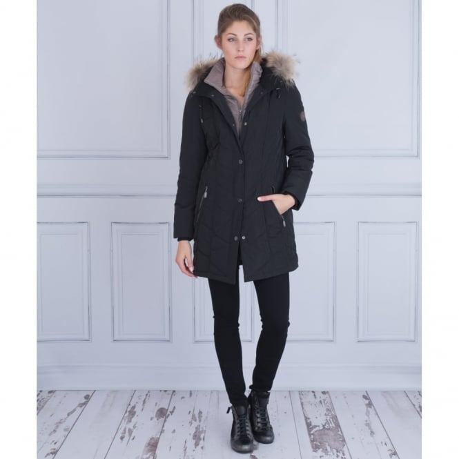 LEBEK Puffa Coat With Detachable Fur Hood And Built In Gilet In Black