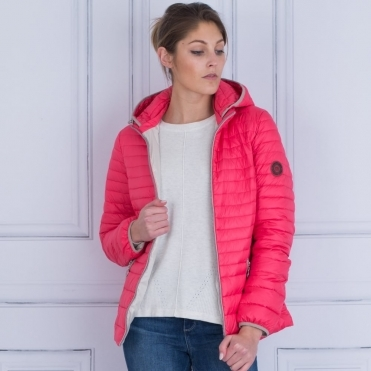 Short Lightweight Puffa Jacket With Hood In Coral Pink