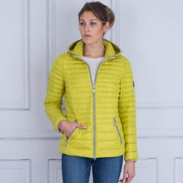 Short Lightweight Puffa Jacket With Hood In Lime