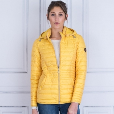 Short Lightweight Puffa Jacket With Hood In Yellow