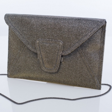 Lisa Kay Glitter Envelope Clutch Pewter