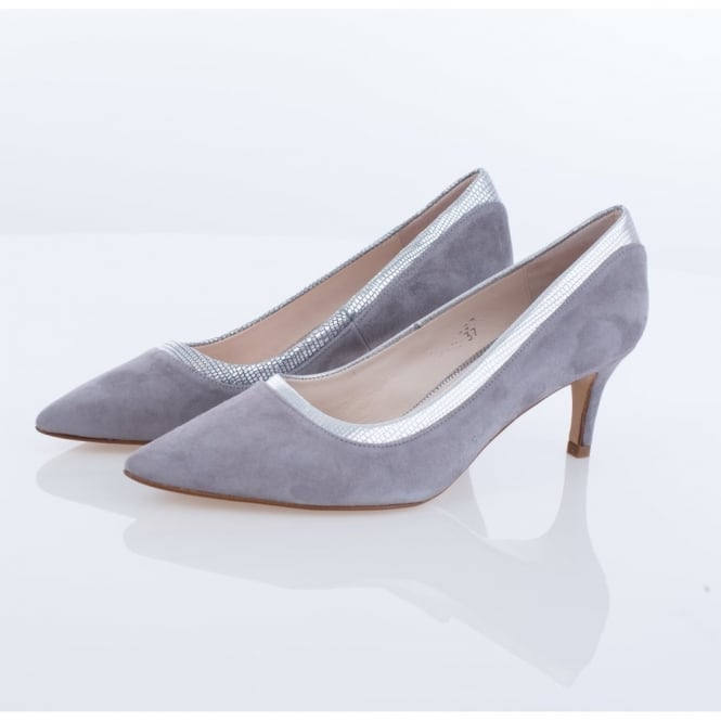 LISA KAY Grey Suede Court With Contrast Silver Snake Trim