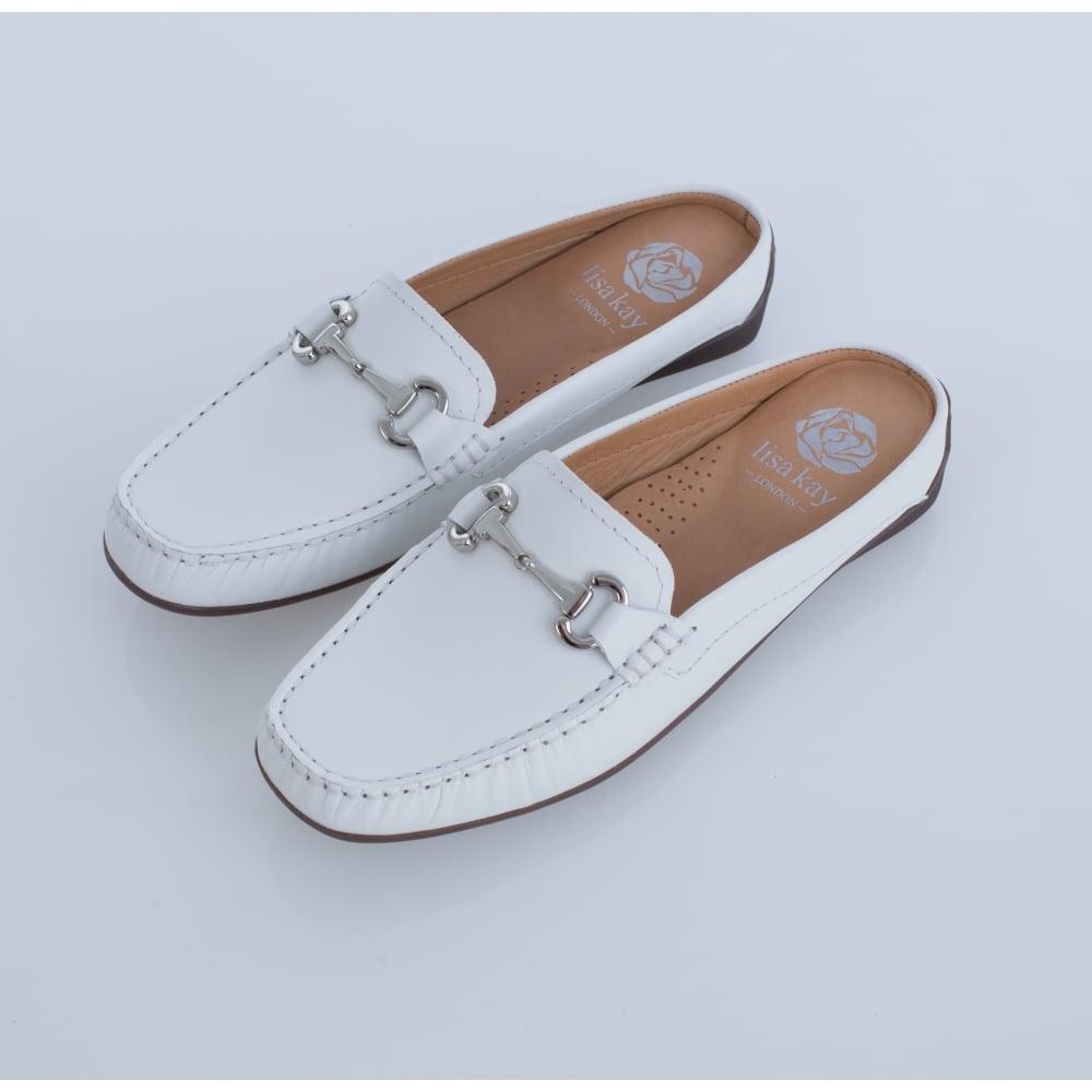 c77366e380e Lisa Kay Jules Slip On Backless Loafer In White