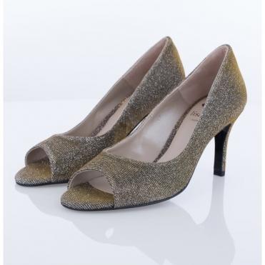 03a0005fb67f Lisa Kay Peep Toe Glitter Shoe In Pewter