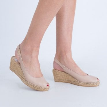 a979d8acdef8 Lisa Kay Sling Back Low Espadrille Wedge Nude
