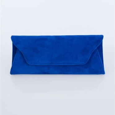 Lisa Kay Suede Clutch Bag In Cobalt Blue