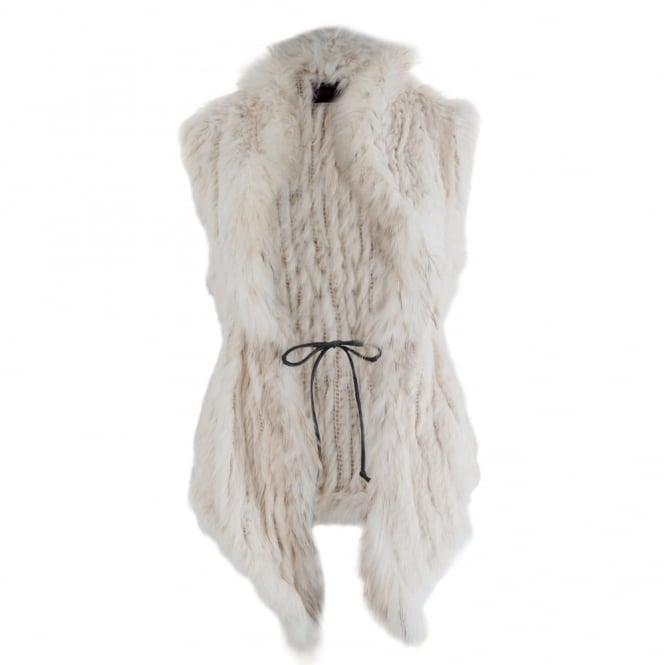 LITTLE RED Fur Fitted Gilet With Chord Waist Tie In Cream