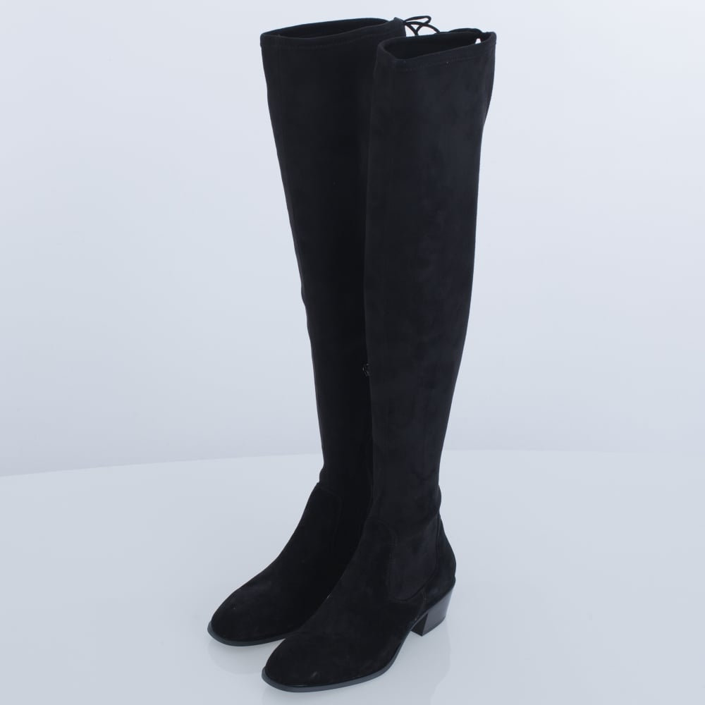 fc24f2905a Lola Cruz Hawking Over The Knee Suede Tie Back Boot Black