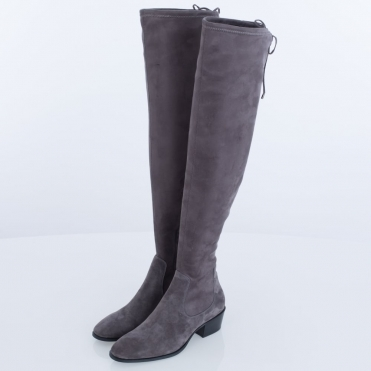 fadbde78dc5f Lola Cruz Hawking Over The Knee Suede Tie Back Boot Grey