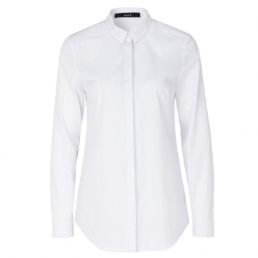 Loose Bodied Stretch Shirt in White