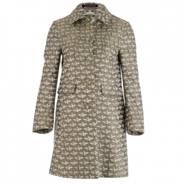 Bumble Bee Print Coat In Gold