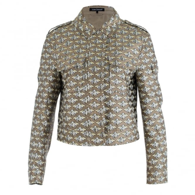 LUISA CERANO Bumble Bee Printed Crop Jacket In Gold