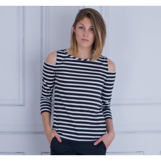 LUISA CERANO Cold Shoulder Long Sleeve Striped Top In Navy & White