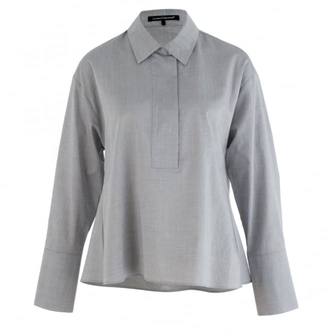 LUISA CERANO Cropped Shirt With Neck In Soft Grey