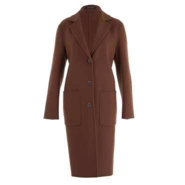 Double Face Coat In Tobacco