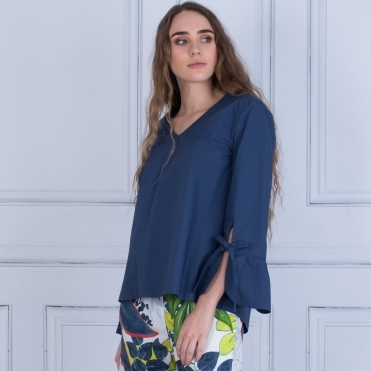 Flute Sleeve Cotton Blouse In French Navy