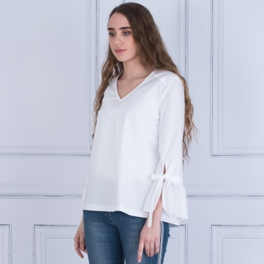 Flute Sleeve Cotton Blouse In White