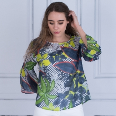 Flute Sleeve Print Blouse In White/Lime/Blue