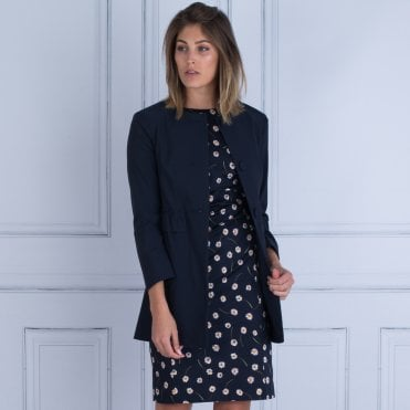 Frock Coat Round Neck Gathered Pocket Detail Coat In Navy