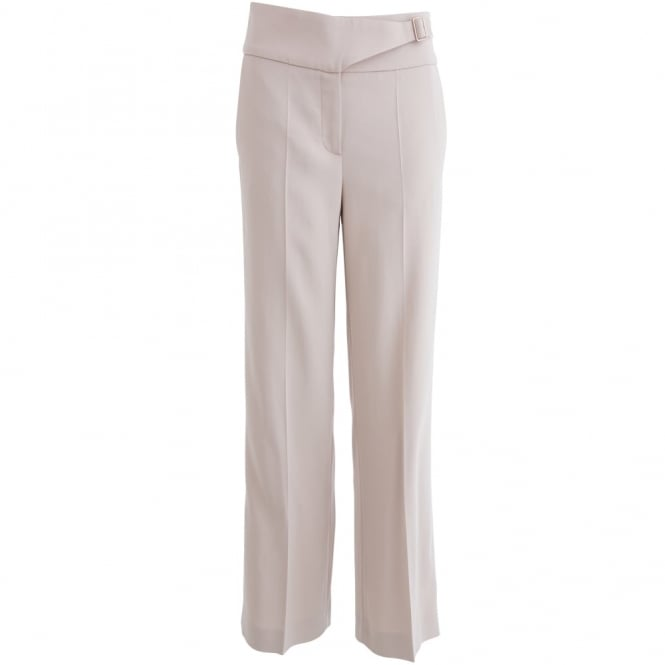 LUISA CERANO Front Pleat Cropped Wide Trouser in Blonde Stone