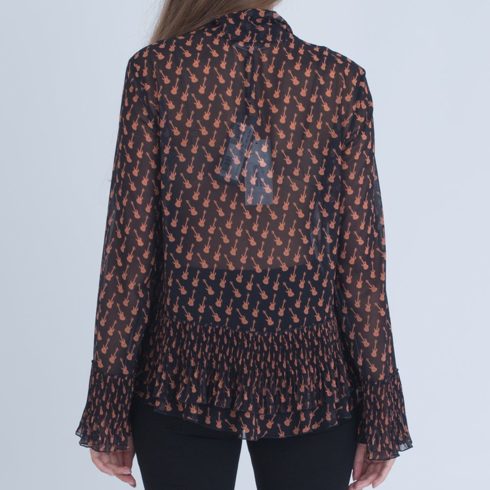 f50c992c84d22 Luisa Cerano Guitar Print Blouse With Tie Neck And Gathered Navy