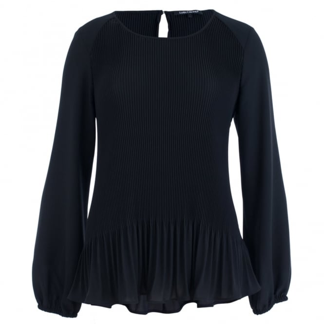 LUISA CERANO Pleated Peplum Blouse With Round Neck In Black