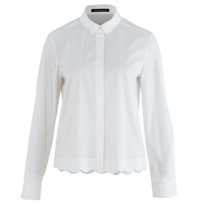 LUISA CERANO Shirt With Scalloped Hem In White