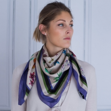 Silk Floral Print Scarf In Almond and Purple