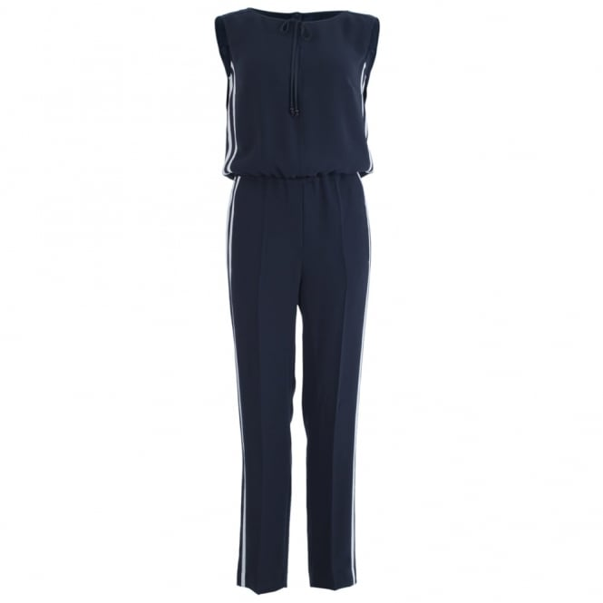 LUISA CERANO Sleeveless Jumpsuit With Side Stripe In Navy