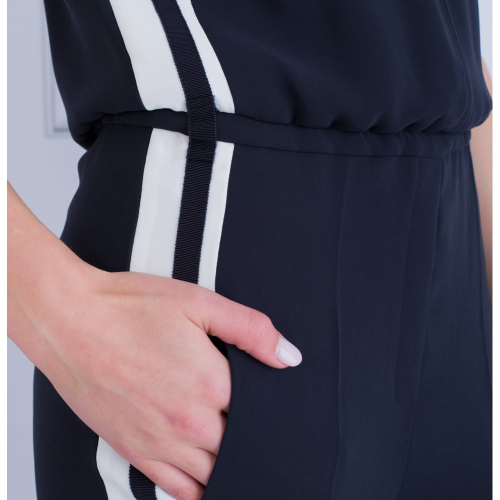 9bd47f6ad83a Luisa Cerano 758079 Sleeveless Jumpsuit With Side Stripe In Navy