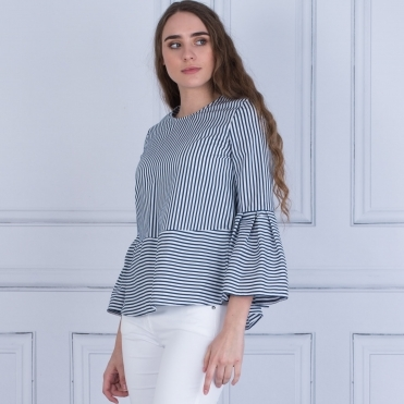 Stripe Flute Sleeve Blouse In French Navy/White