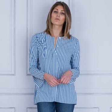 Stripe Shirt With Bow Shoulder Detail In Blue & White