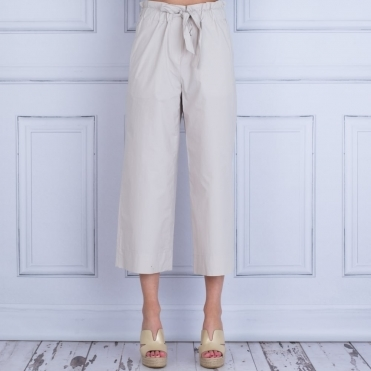 Tie Waist Poplin Cotton Easy Trouser In Stone