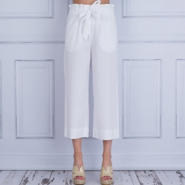 Tie Waist Poplin Cotton Easy Trouser In White