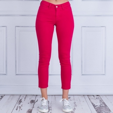 Cropped Ankle Zip Jean In 441R Raspberry 5471 00 27L