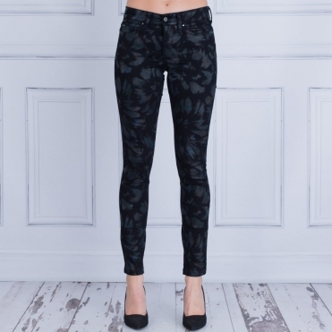 Dream Skinny With Metallic Floral Finish In Black & Blue 5402 90 32L