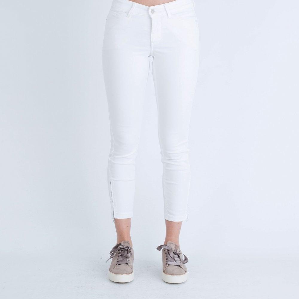 offizielle Bilder geringster Preis neuer Lebensstil Mac Dream Summer Chic Crop Jeans With Ankle Zip White
