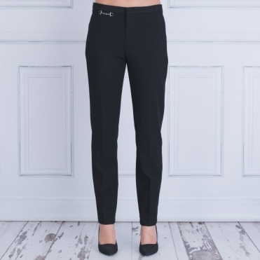 Smart Narrow Trouser With Hardware Waist Detail In Black