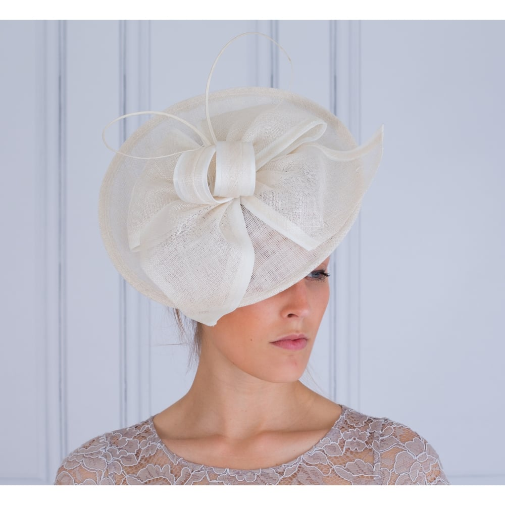 Maddox Disc Fascinator With Bow In Ivory fe4bdef39ef
