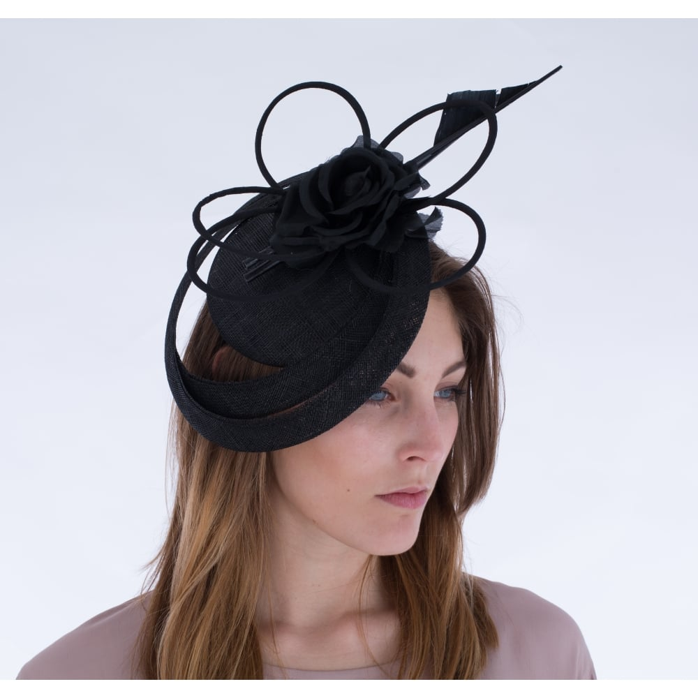 Maddox Fascinator With Rings Loop And Flower In Black fabb29ab13b
