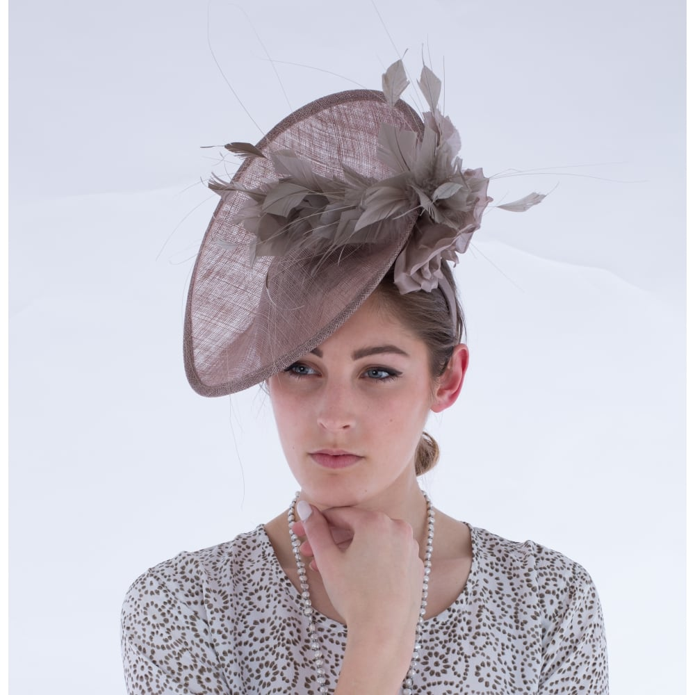 Maddox Fascinator With Rose 7 Feather In Latte 788444de613