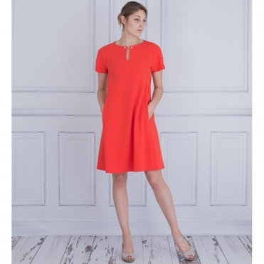 A Line Dress With Pearl Pin Neck Detail In Orange