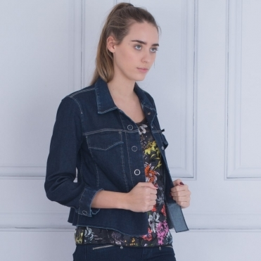 Bow Back Detail Cropped Denim Jacket