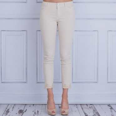 Cotton Jean With Lace Hem In Sand