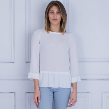 Cupro Frill Hem Top In White