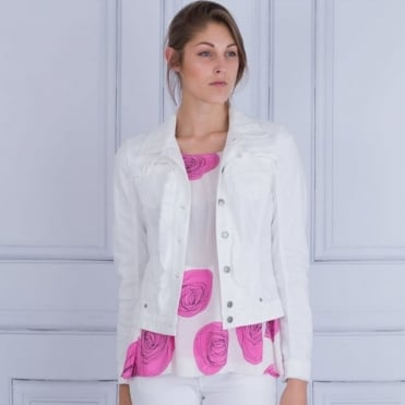 Denim Jacket With Floral Embroidered Collar And Frayed Detail In White