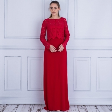 Elegant Dress with Lace Overlay in Red